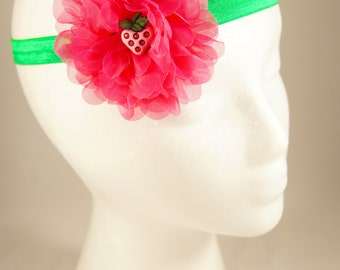 Bright pink and green strawberry flower headband