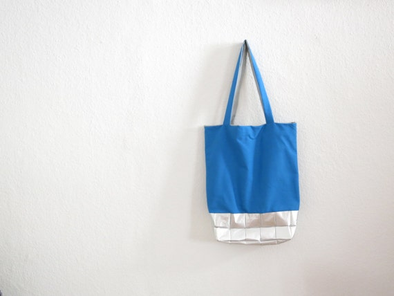 Blue Bag with silver bottom - silverbluegrey - recycling - Shopping ...