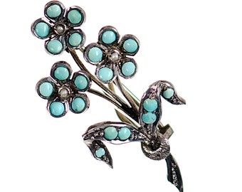Victorian turquoise & pearl floral brooch pin