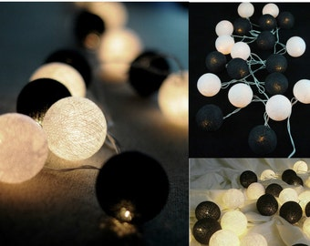 20 Classic Black and White Cotton Ball string lights for Patio,Wedding,Party