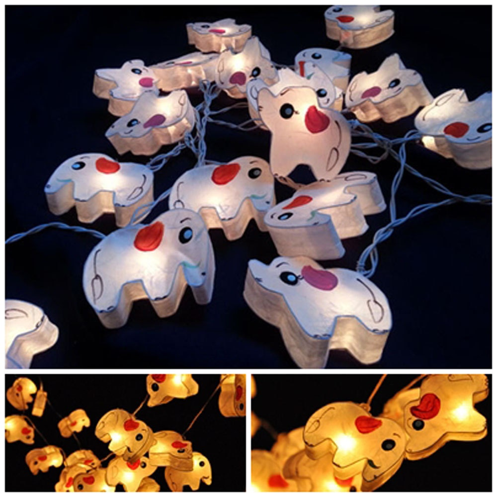 Paper Lantern String Lights Indoor : White Elephant string light hanging lantern paper indoor night