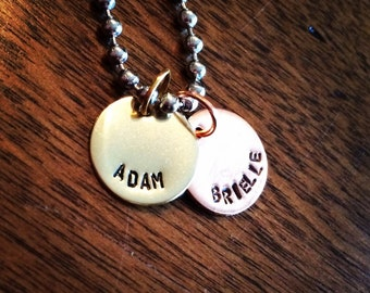 Hand Stamped Jewelry - Custom Name Necklace/Mothers Necklace