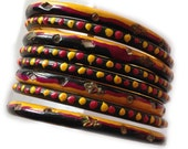 Lac Bangles, black bangles with maroon and yellow dots, thick bangles, Accessory for Indian and western dresses, Set of 4