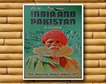 Vintage Travel Poster India Pakistan Art Print Asian Decor (AJT3)