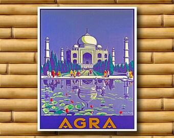 India Art Taj Mahal Travel Poster Asian Wall Print Decor (AJT25)
