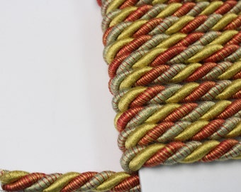 Green Gold Red Braided Cording - Decorative Trim 521