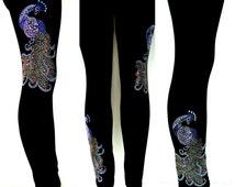 Plus Size Full Length Leggings Embellished Rhinestone Peacocks Design
