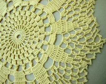 Vintage Cotton Crocheted Doily, Hand made Yellow Round Doily, Lacework, lace, Crochet Doily, Shabby Chic, Made in Poland, Polish folk