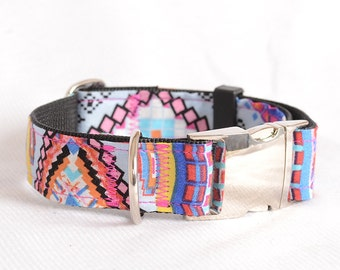 Dog Collar with Personalized Buckle,Fabric 204 Bohemia