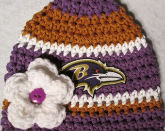 Crochet Baby hat, Baby Football Hat, Football hat in Baltimore Colors, Baby Beanie hat- Newborn-12 Months