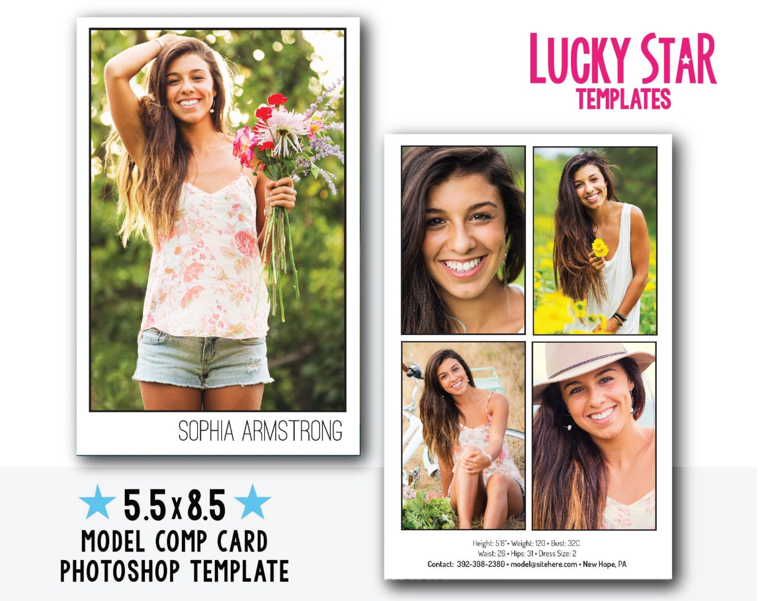 Customizable digital model comp card power portraits for Free comp card template