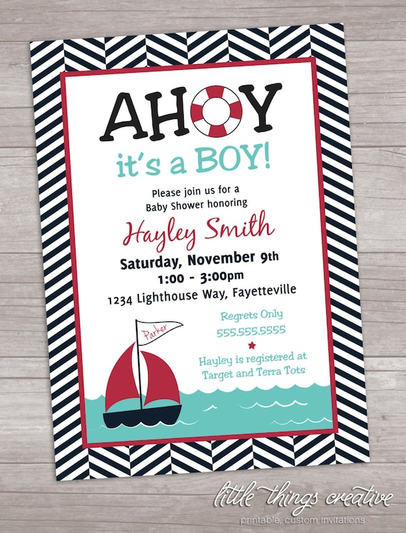 Ahoy It39;s a Boy Baby Shower Invitation by LittleThingsCreative