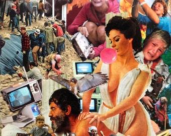 Handmade Magazine Collage Art / Original 8x10 Signed & Framed / Psychedelic Art