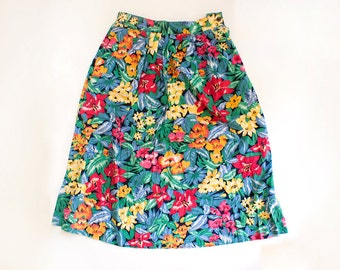 Vintage Women's Multicolor Stretchy High Waist Skirt with Flower Ornaments