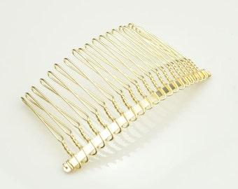 Gold Combs,30pcs Gold Plated Metal Hair Combs,20 teeth Gold combs--75x38mm.