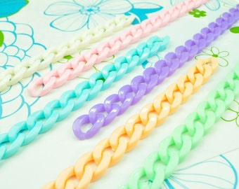 50pcs 13x18mm chunky chain links,Plastic chain links,Curb chain links,6 colors options--#CL1318