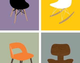 """Set Of 4, 5X7"""" Printable Wall Art, Mid Century Modern Chair, Instant Download"""
