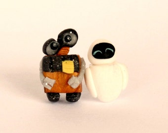 Eve and Wall-e stud or magnetic  earrings inspired. Disney jewelry inspired. Clay jewels.  Hight quality jewelry for kids and adult.