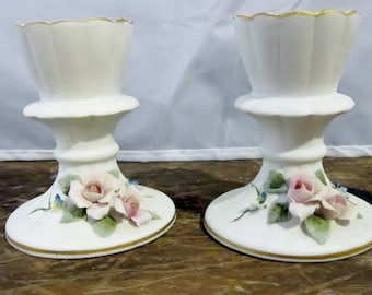 """Vintage Lefton China Hand Painted Candle Holders with delicate roses in pink and blue and green leaves - marked """"1848W"""" - slightly damaged"""