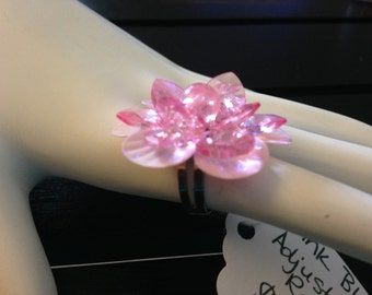 Pink Bling Adjustable Ring - handmade in the U.S.