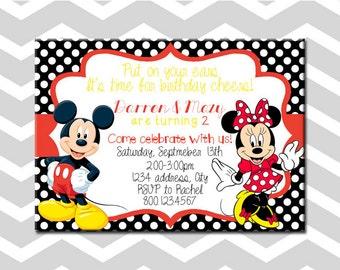 Mickey And Minnie Birthday Party Invitation Mickey And Minnie Combination Birthday Party Invitation
