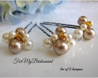 Wedding hair pins champagne Brown hair pins Gold bridal hair accessories Swarovski pearls crystals Fall Wedding hair Fascinator Set of 3 pin