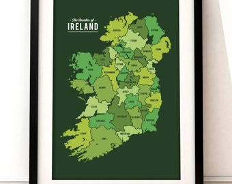 Map of Ireland art, Ireland map, Ireland art print, map inspired print, Ireland map print, modern map art, Ireland inspired art.