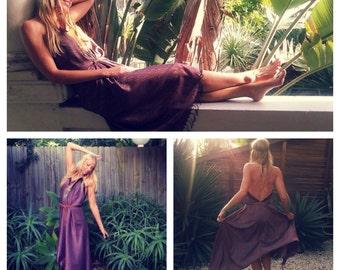 Amethyst Sundancer Vintage Silk Dress, Bohemian dress
