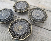 SALE Ornate octagonal knobs (set of 4) / Gold coloured salvaged vintage knobs / ornate drawer hardware / Toyo drawer knobs