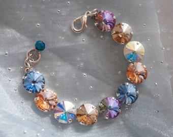"Crystal bracelet made with Swarovski crystals  ""Innocent Facade"" 12mm Bracelet - contains genuine Swarovski crystals - cup chain bracelet"