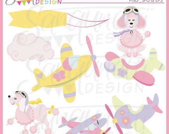 Pink Poodles and Airplane Clipart Commercial Use