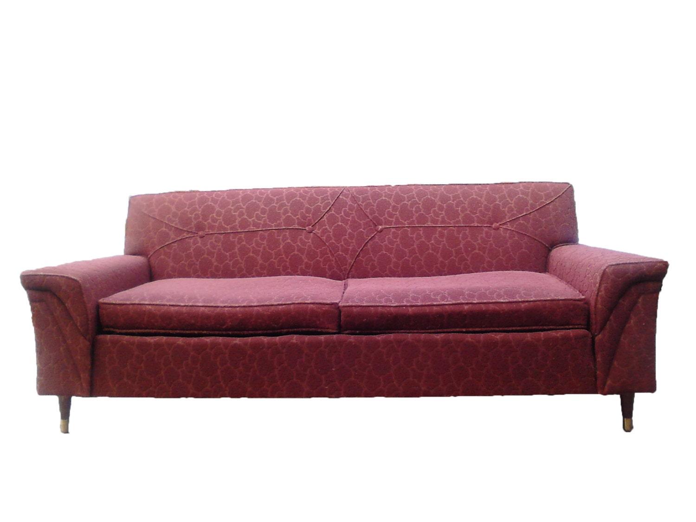 Rockin Pink 50s Kroehler Sofa Couch Mid Century Modern