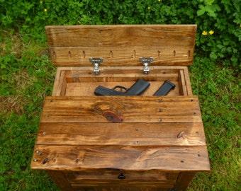concealed hidden gun compartment pallet wood nightstand, repurposed night stand, concealed weapon, hidden pistol