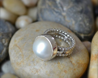 Large Freshwater Pearl Sterling Silver Ring