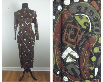 80s Abstract Dress Structured Body-Con Long Sleeved Tribal Print Earthy Tone Dress Size S-M (6-8)