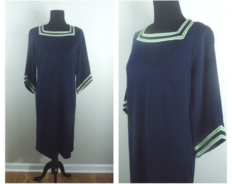 CLEARANCE 60s Navy Dress Square Collar with Green and White Trim Detail 3/4 Sleeves Sz L