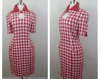 60s red plaid shift dress M