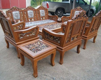 carved teak wood living room furniture set with beautiful