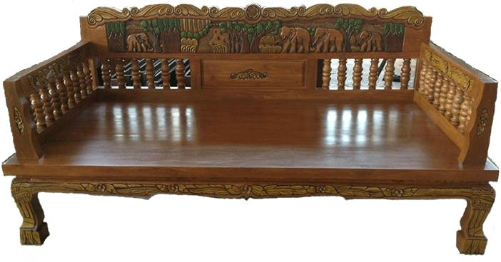 Carved Teak Wood Sofa Bed With Beautiful Elephants Details