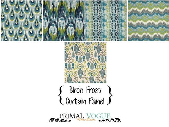 aqua teal curtain panel with rod pocket navy citrine kiwi