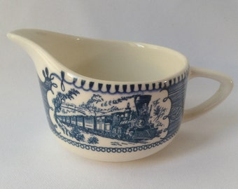 Vintage Currier and Ives Creamer, Blue and white Creamer, Locomotive / Train Creamer