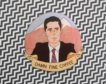 Damn Fine Coffee! -- Agent Cooper Twin Peaks STICKER