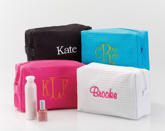 Waffle Weave Cosmetic / Spa Bag - Choice of 4 Colors (e113-1104) - Free Personalization