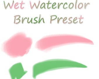 Wet Watercolor Photoshop Brush Preset - 2 styles - instant digital only download