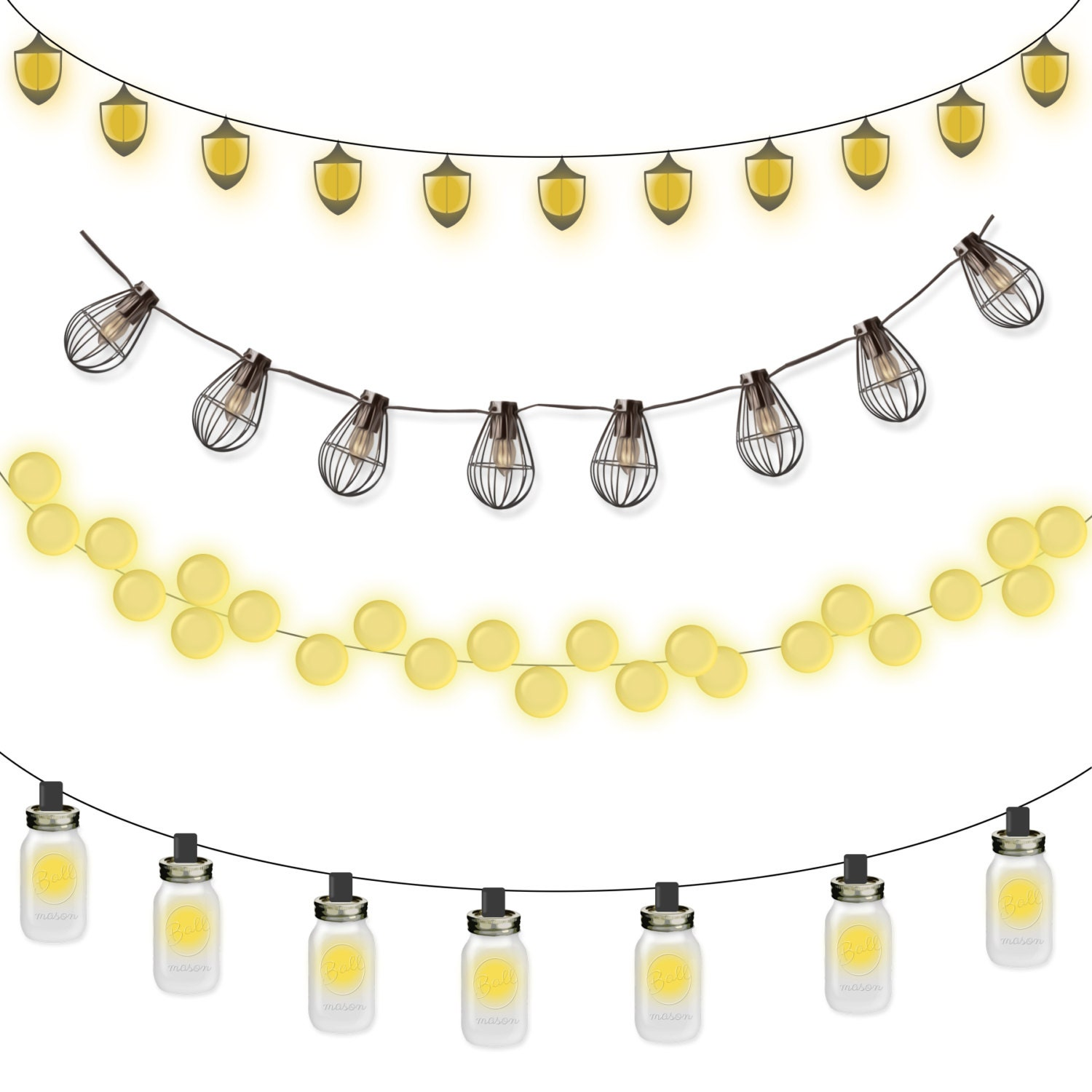 Commercial Use Instant Download Clipart Lantern Strings - Mason Jar, Light Bulbs from ...