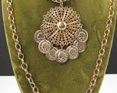 Multi Chain Pendant with dangling coins Necklace Modernist