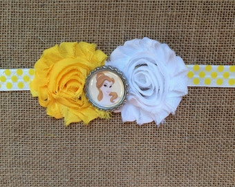 Disney Princess inspired Belle Headband, Beauty and the Beast, shabby flower, baby/toddler