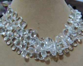 1 Strand  Clear quartz   Faceted Layout   beads  7''  25, grams
