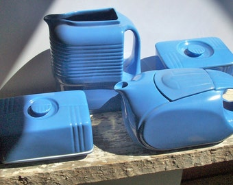 Westinghouse Refrigerator Ware Vintage Hall China / 4 Matching Pieces / Bold Art Deco Color