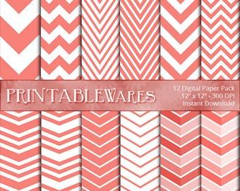 Coral Chevron Digital Paper Pack - White Orange Zig Zag Scrapbooking - Card Making - Printable Backgrounds 12x12